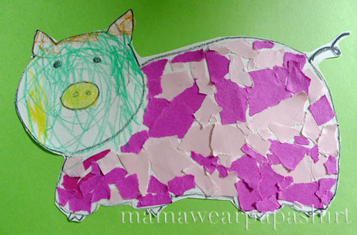 Vera's pig made out of torn bits of pink scrap paper