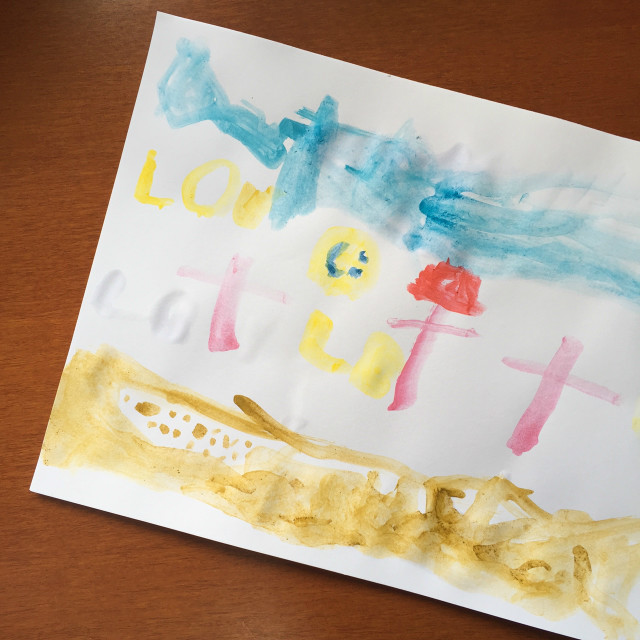 child's art about Jesus dying on the cross