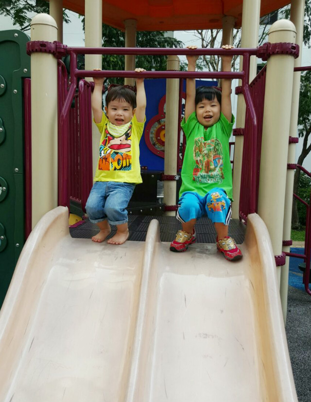 brothers playing happily on a slide